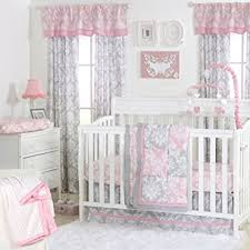 Amazon Pink and Grey Damask Patchwork 4 Piece Baby Crib