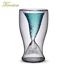 creative mermaid cocktail glass cup 100ml wine double wall