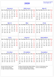 Printable Calendars 2020 With Holidays 2020 Calendar Printable Calendar 2020 Calendar In