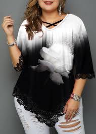 Modlily Size Chart Plus Size Lace Patchwork Asymmetric Hem T Shirt Modlily Com Usd 29 96