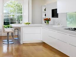 kitchen designs white cabinets. Cute L-shaped Kitchen Designs With Breakfast Bar And Paint Colors White Cabinets Also Light Wood Flooring