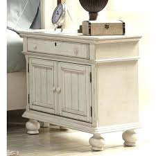 antique white round nightstand living wood 2 door
