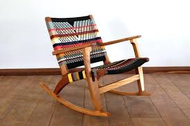 mid century modern rocking chair accent lounger colors handwoven seat black stripes linear pattern retro rustic mid century modern rocking chair