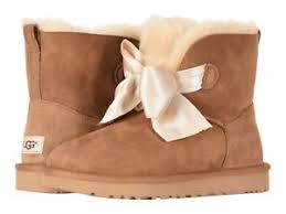 Details About New Women Ugg 2019 Gita Bow Mini Boots Chestnut Sheepskin Authentic 1098360