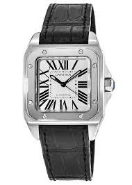 cartier santos 100 automatic midsize silver dial black leather strap uni watch w20106x8 watchma com