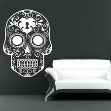 skull wall art metal sugar girl skull wall art hooded sticker bedroom transfer