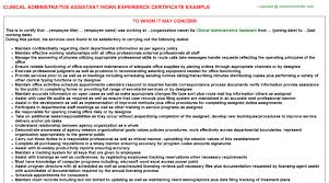 Clinical Administrative Assistant Work Experience Certificate Sample ...