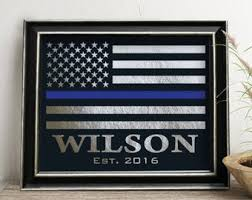 police officer gift law enforce sign personalized thin blue line flag