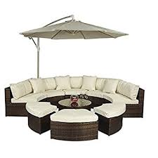 large garden furniture cover. Monaco Large Rattan Sofa Set (Semi Circle) With Small Round Glass Table And + Garden Furniture Cover U