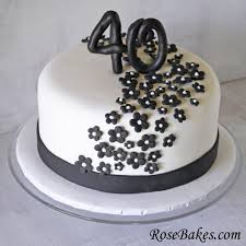 Black White 40th Birthday Cake Flowers Rose Bakes