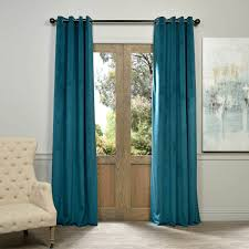 signature everglade teal grommet blackout velvet curtain