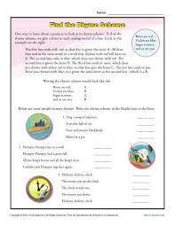 Poem Patterns Custom Find The Rhyme Scheme Poetry Worksheets