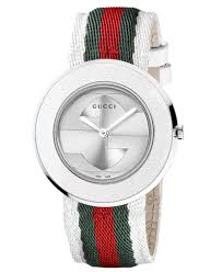gucci watch. gucci women\u0027s swiss u-play green, red and white nylon strap watch 35mm ya129411 :