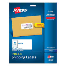 Template 8163 Avery Shipping Labels With Trueblock Technology 2 Inch X 4 Inch White 250 Labels 8163