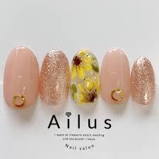 夏ハンドラメワンカラーフラワー Nail Salon Ailusのネイル