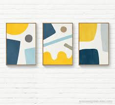 navy blue yellow abstract wall art