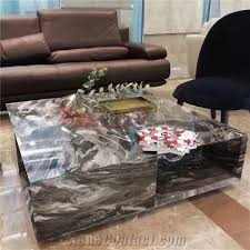 polished magma black marble table for living room