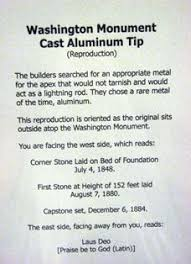 Image result for a nine-inch aluminum pyramid atop a tower of white marble,