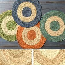 jute round rug hand woven 3 free on orders piece set big lots of 6