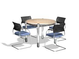 small round meeting table and chairs 3d model