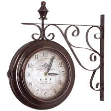 double sided iron wall clock in black frame