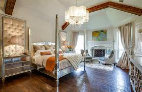bedroom with mirrored furniture. Dallas Transitional Bedroom With Mirrored Furniture A