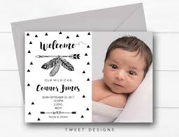 Baby Announcement Cards Birth Announcement Boy Tribal Baby Thank You Card Wild One Baby Announce Thankyou Card Tribal Boy Birth Announcement Boho Wild One Baby