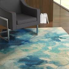 watercolor area rug avery abstract designs luminous blue