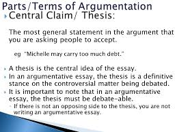 mr jernigan  in your t write definitions for each of the  central claim thesis the most general statement in the argument that you are