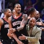 James Harden, CP3 among Rockets to push into Clippers' locker room