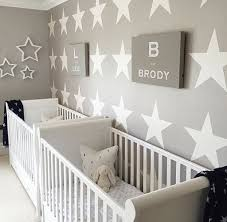 Grey Twin Nursery With Star Accent Wall