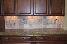 travertine style ceramic kitchen backsplash