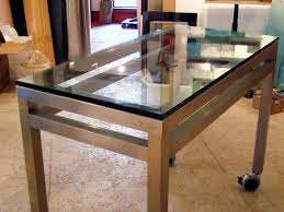 ... Custom Stainless Steel Cabinetry Stainless Steel Table with Glass Top  ...