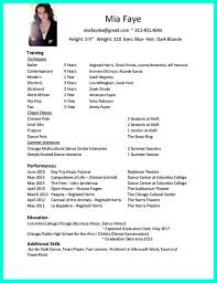 Dance Resumes Template Dancer Resume Resume For Study 17