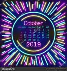 2019 October Calendar 2019 October Calendar Page Neon Effect Style Poster Concept
