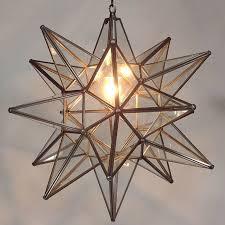 moravian star pendant light clear glass bronze frame 21