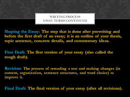essay a piece of writing that gives your thoughts commentary  3 shaping the essay the step that is done after prewriting and before the first draft of an essay it is an outline of your thesis topic sentence