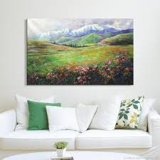Wall Painting In Living Room Aliexpresscom Buy Hand Painting Spring Blossoms Natural