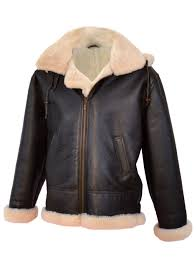 men 39 s brown leather jacket with white fur lining