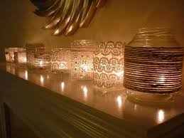 Mason Jars Decorated With Twine Cheap Decorating Ideas for your Home Fireplace mantles Mantle 41