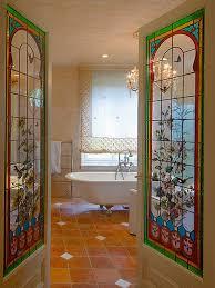stained glass window panels bathroom decorating ideas clawfoot tub tile flooring
