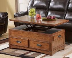Living Room Table Living Room Round Brown Leather Ottoman Coffee Table With Beige