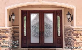 glass entry doors etched traditional