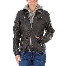 faux leather jacket with knit hood and faux fur lining