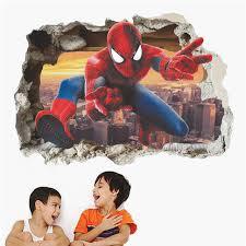 Online Shop Cartoon <b>Spiderman</b> Broken Wall Stickers For Kids ...