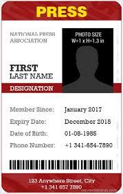 Blank Id Card Template Magnificent 44 Best Press Reporter ID Card Templates Microsoft Word ID Card