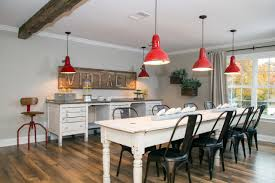 Farmhouse Dining Room Lighting Renovated Dining Room With Red Industrial Pendant Lights Hgtv