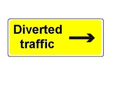 1050 X 450mm Diverted Traffic Arrow Ahead Sign Plate