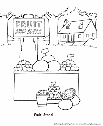 Small Picture Fall Coloring Pages Harvest Fruit Stand Coloring Page Sheets of