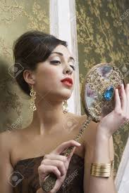 woman holding mirror. Perfect Woman Portrait Of Woman Holding Mirror Stock Photo  85369043 Inside 123RFcom